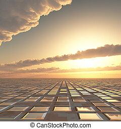 soleil, résumé, technologie, fond, ciel