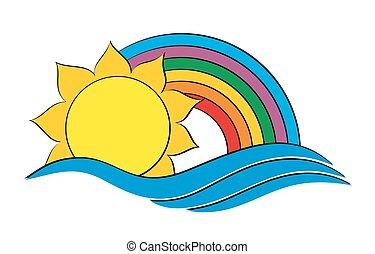 soleil, rainbow., logo