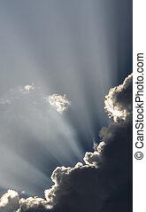 soleil, rayons, ciel, crépuscule