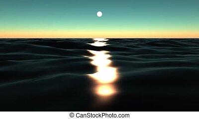 soleil, refléter, ocean.