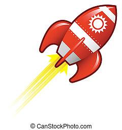 soleil, retro, fusée, icône