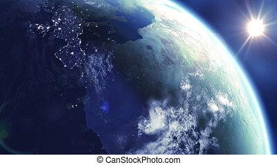 soleil, rotation, boucle, 360, la terre
