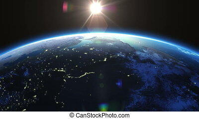 soleil, rotation, degrés, 360, la terre