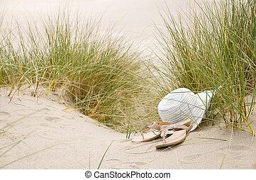 soleil, sandales, chapeau plage