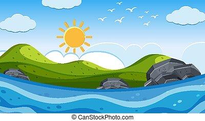 soleil, scène nature, océan