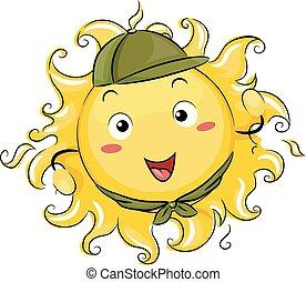 soleil, scout, illustration, mascotte