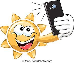 soleil, selfie, dessin animé
