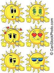 soleil, set., collection, expressions., vecteur, divers, facial, beer., boire, dessin animé