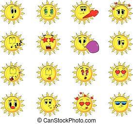 soleil, set., collection, expressions., vecteur, divers, facial, dessin animé