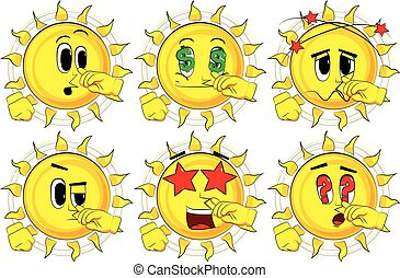 soleil, set., sympathy., collection, expressions., vecteur, divers, facial, dessin animé