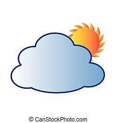 soleil, silhouette, coloré, nuage