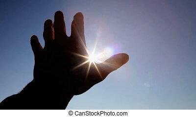 soleil, silhouette, contre, main