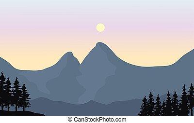 soleil, silhouette, montagne