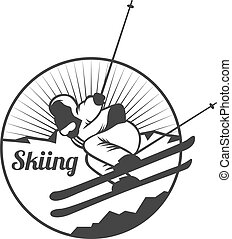 soleil, silhouettes, exploration, ski, emblèmes, désert, polonais, elements., extérieur, vecteur, vendange, nature, montagnes