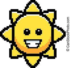 soleil, sourire, 8-bit, dessin animé