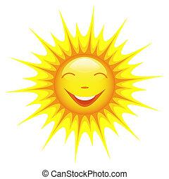 soleil, sourire, blanc, isolé, fond