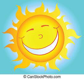 soleil, sourire, caractère, dessin animé