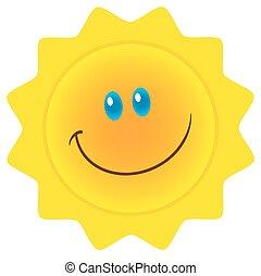 soleil, sourire, caractère