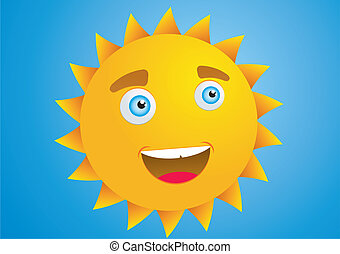 soleil, sourire, détail, vecotr