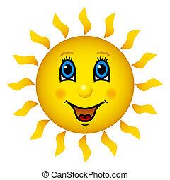 soleil, sourire heureux