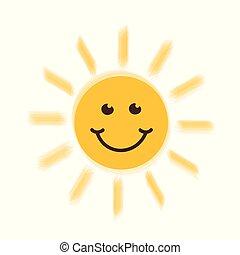 soleil, sourire heureux, type caractère jaune