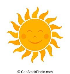 soleil, sourire, icône