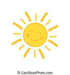 soleil, sourire, illustration
