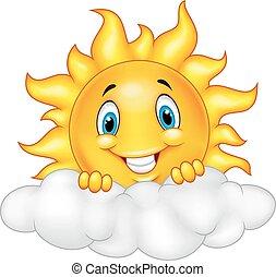 soleil, sourire, mascotte, dessin animé, characte