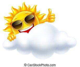 soleil, sourire, nuage, derrière