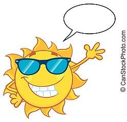 soleil, sourire, salutation