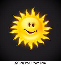 soleil, sourire, type caractère jaune