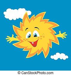 soleil, sourire, vecteur, dessin animé, heureux