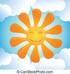 soleil, sourire, vecteur, dessin animé