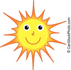 soleil, sourire, vecteur