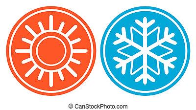 soleil, -, spécifique, saison, flocon de neige, icône