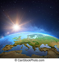 soleil, sur, briller, la terre, espace