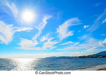 soleil, sur, horizon, briller