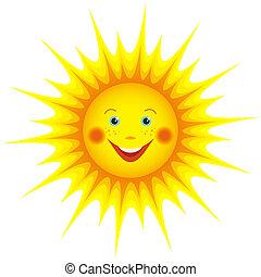 soleil, sur, isolé, dessin animé, sourire, blanc