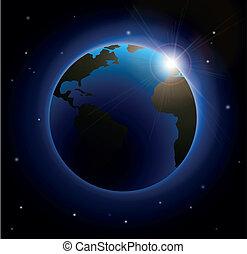 soleil, sur, levée, la terre