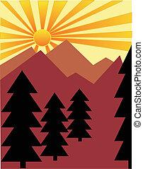 soleil, sur, levée, montagnes