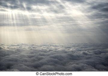 soleil, sur, rayons, nuages