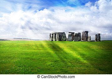 soleil, sur, rayons, stonehenge
