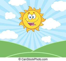 soleil, sur, soleil, paysage, heureux