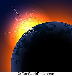 soleil, sur, space., planète, levée, fond, copie