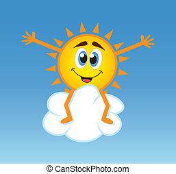 soleil, sur, vecteur, nuage, séance
