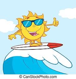 soleil, surfeur, caractère, dessin animé, mascotte