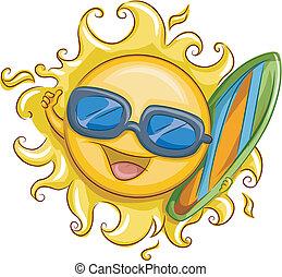 soleil, surfeur