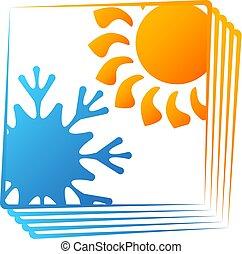 soleil, symbole, conditionnement, flocon de neige, air