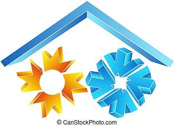 soleil, symbole, flocon de neige, toit, sous