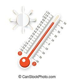 soleil, symbole., isolé, arrière-plan., chaud, vecteur, thermomètre, temps, icon., blanc